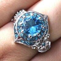 2 Ct Round Aquamarine Ring Women Wedding Jewelry Gift 14K White Gold Plated