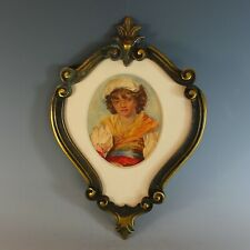 Antique French Bronze Frame with Watercolor Portrait