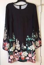 Women's Black Floral Long Sheer Sleeve Dress Large New