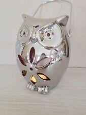 Eule Teelichthalter Windlicht Silber Keramik 17,5 cm Laterne Aufhänger