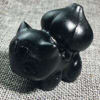 """2.3"""" Natural Hand Carved Quartz Crystal Obsidian Skull Reiki frog 1PC"""