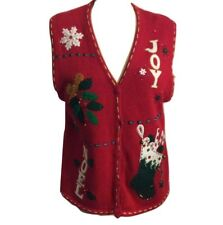 New Vintage Ugly Christmas Sweater Vest Size Large Red Glitter and Beaded