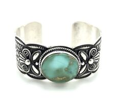 Navajo Handmade Sterling Silver Royston Turquoise Cuff Bracelet - Andy Cadman