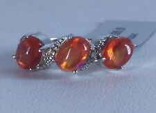 Size 5 Ethiopian Cherry Opal & White Topaz Sterling Silver Ring TGW 1.69 cts