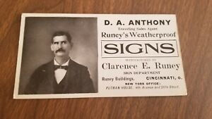 Vintage 1910s Sign Makers Trade Card Runeys Weatherproof Banners Cincinnati