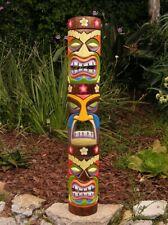 "Tiki Totem Tongue 3 face Tribal Wood Wall Mask Patio Tropical Bar Decor 40"""