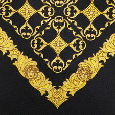 GIANNI VERSACE Black Yellow Gold MEDALLIONS MEDUSA Silk Tie EUC