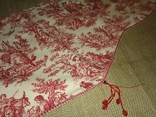 COUNTRY LIFE RED OFF-WHITE TOILE FLORAL GINGHAM VALANCE 58 X 13 BEADS
