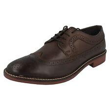 Base London 'Barcelona' Men's Brown Grain Leather Smart Punch Hole Brogue Shoes