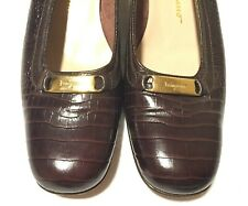 Salvatore Ferragamo BoutiqueCroc Brown Pumps Women's Shoes Sz 8 A4 Made In Italy