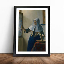 More details for young woman with a water pitcher by johannes vermeer wall art framed print