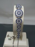 Turkish Handmade Jewelry 925 Sterling Silver Sapphire Stone Women Bracelet