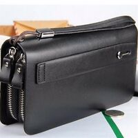 Men Long Business Leather Clutch Wallet Handbag Purse Zipper Card Holder Bag !