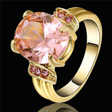 Size 8 Pink  Topaz CZ Wedding Ring 18K Yellow Gold Filled Women's Jewelry