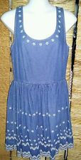 MISS SELFRIDGE Ladies Sleeveless Blue Denim & White Floral Dress Size 8