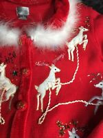 Berek Ugly Christmas Sweater Med. Red Faux Fur Reindeer Stars Gold Thread Mint