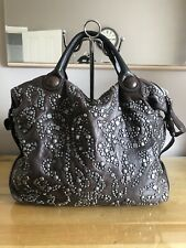 Francesco Biasia Huge Studded Leather Tote shoulder brown leather Bag