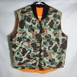 Vintage 1980's Old School Camo Puffy Hunting Vest Reversible