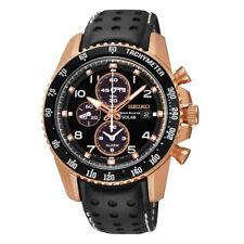 Seiko SSC274 Sportura Solar Chronograph Black Dial Leather Strap Mens Watch New