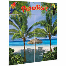Tropical Palm Tree Paradise Beach Party Scene Setter Wall Decorating Kit
