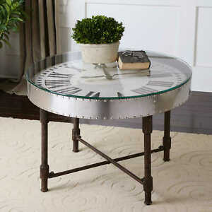 "31"" W Clock Coffee Table Aluminum Banding Rivet Detail Industrial Base"