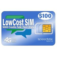 $100 Preloaded Gsm Sim Card 4G Lte Nationwide - 1 Year Wireless Service