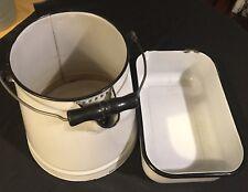 Vintage Enameled Water Pail And Pan