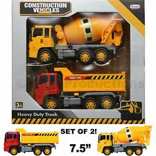 Construction Truck Toy Dump Cargo Cement Mixer Vehicle Friction Powered Kids