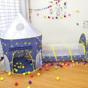 3 In 1 Kids Play Tent Toddler Tunnel Ocean Ball Pit Pop Up Cubby Child Playhouse