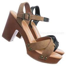 3f485cefb95 Economy Sculpted Chunky Block Heel Clogs - Womens Lightweight Wood Base  Sandal