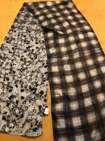 NWT Echo 100% silk scarf rectangle plaid & floral mix    k172