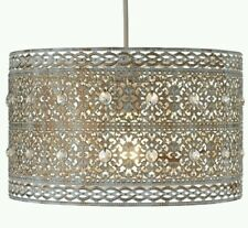 Vintage Large Jewelled Ivory Moroccan Style Crystal Ceiling Light Shade Pendant