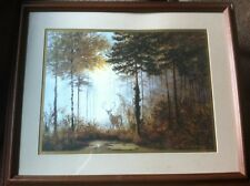 """Gerald Coulson """"Quiet Forest"""" Framed Art AMAZING Deer Painting Outdoors Print!!"""