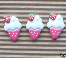 "US SELLER - 10 x 3/4"" Hot-Pink Resin Ice Cream Beads/Flatback/Strawberry SB111H"