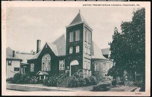 FREEPORT PA United Presbyterian Church Vintage Town View Old B&W Postcard