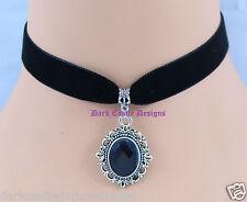 "13"" black velvet choker necklace Glass Cabochon Jewel Pendant goth Victorian UK"