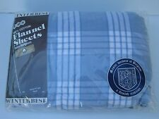 NEW Winter Best KING Size FLANNEL FITTED SHEET from BELGIUM Blue White PLAID