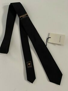"""GUCCI Slim Tie Black """"The Sines - Maison De L'Amour""""  Wool Blend Made in Italy"""