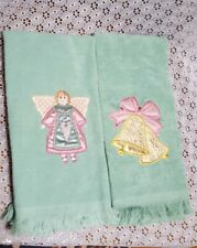 Festive Christmas Angel & Bells Embroidered Bathroom Kitchen Hand Towels-Green