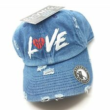 Denim Distressed Love & Basketball Dad Cap Hat