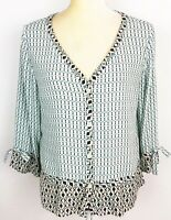 J. Jill Blue Geometric Print Blouse Long Sleeve V-Neck Button Front Size Medium
