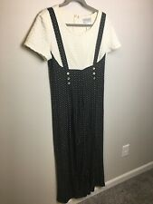 VTG 70's-80's Ms.Conduct Women's Sz.10 Wide Leg Jumpsuit Suspenders Black/Cream