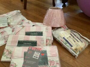 laura ashley country roses sheet set twin, roman blind, campion lamp shade pink