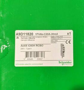 Schneider Clipsal RCBO residual current circuit breaker 20A amp 30mA A9D11820