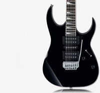 Black 24 Frets High-Grade Professional Basswood Double Wave Electric Guitar #
