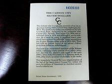 Five 3's 1884CC GSA Card For a Morgan Silver Dollar Coin Card Only #84335333