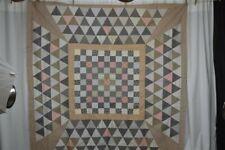 antique quilt top blocks cotton calico 74 x 74 early Civil War Era original