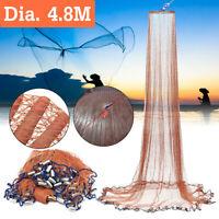 4.8M Hand Manual Fishing Net Easy Throw Spin Bait Casting Nylon Line Sinker US