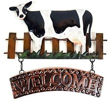 Cow Welcome Metal Hanging Wall Art Rustic Sign Farmyard Garden Décor *29 cm*