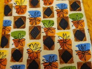 ERMENEGILDO ZEGNA ~ MENS SILK TIE ~ MOD FUNKY FLOWERS FLORAL ~ORANGE BROWN BLACK